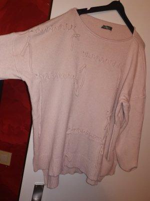 100% Fashion Sweter bez rękawów z cienkiej dzianiny różany