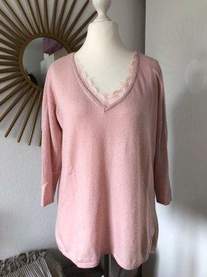 Pullover rosa mit Spitze, Gr. M von Mohito, 3/4-Ärmel