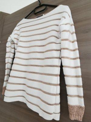 Pullover rose-weiß