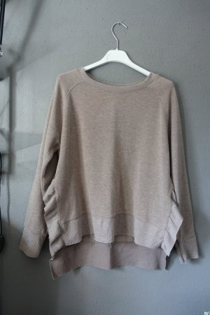 Pullover, Rüschen, Volants, Zara, beige, taupe, braun, Sweater, Sweatshirt, Pulli