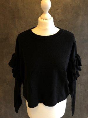Pullover Rüschenärmel boho schwarz