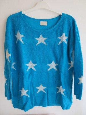 Mrs & HUGS Cashmere Jumper turquoise-white cashmere