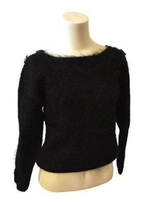 Pullover schwarz Faux Mohai Handstrick Vintage