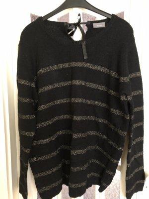 Pullover schwarz mit goldenen Streifen