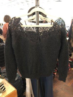 Pullover schwarz schulterfrei spitze