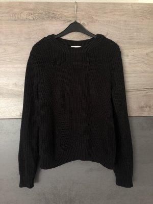 Pullover schwarz strick S Basic kurz geschnitten