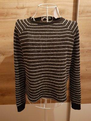 Pullover schwarz weiss Glitzer Crop Oversize