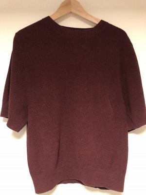 COS Short Sleeve Sweater bordeaux-brown red