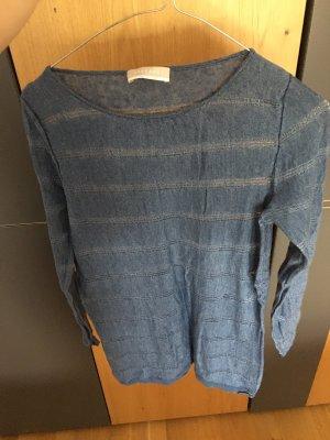 Stefanel Top en maille crochet bleu acier