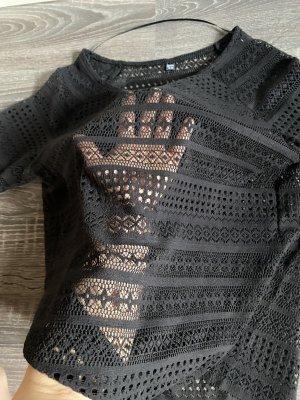 Pullover Shirt spitze Muster Netzhemd Oberteil transparent schwarz