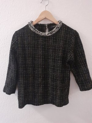 Reserved Crochet Shirt white-black