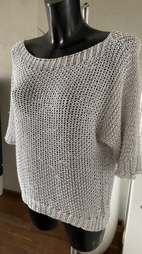 Pull en crochet gris clair-argenté