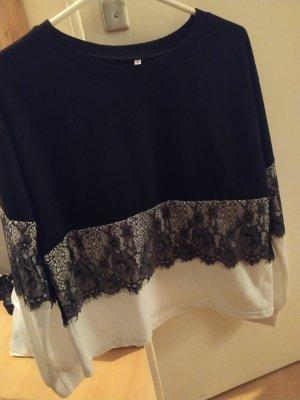 SheIn Crewneck Sweater white-black
