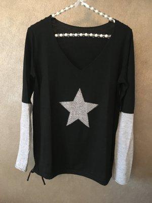 Pullover Stern Strass schwarz grau V-Ausschnitt Gr. S