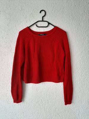 Fishbone Coarse Knitted Sweater red