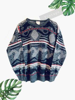 Pullover Strick dick warm wolle grau schwarz Weiß rot Muster | Vintage | 38-44