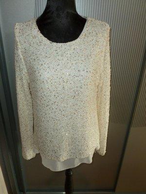 Pullover Strickpullover beige Pailletten