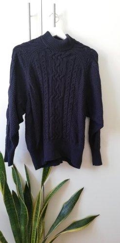 Vila Warkoczowy sweter ciemnoniebieski