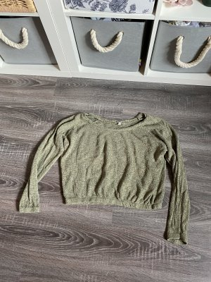 Pullover strickpullover langärmelig Bauchfrei Khaki olivgrün zara