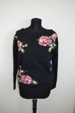 Pullover, Strickpullover, schwarz, Rosen