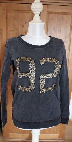 Pullover Sweater grau Glitzer Zahl REVIEW Casual Look