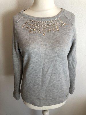 Pullover Sweater grau mit Steinchen
