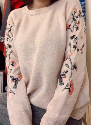 Pullover Sweater kuschelig Stickerei Blumen creme DeFacto Größe S