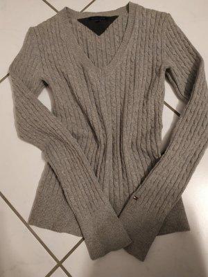 Tommy Hilfiger Pull col en V gris-argenté coton