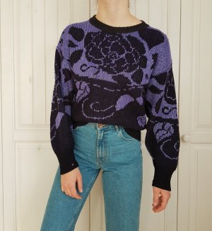 Pullover True Vintage Pulli violett oversize schwarz lila silber rosen sweater hoodie