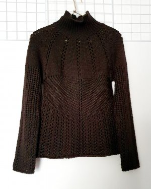 cerruti 1881 Coarse Knitted Sweater dark brown-black brown wool