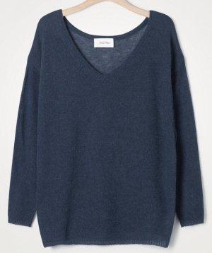 American Vintage Sweter z grubej dzianiny chabrowy-stalowy niebieski Wełna