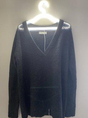 Pullover V Ausschnitt Off Shoulder locker oversize