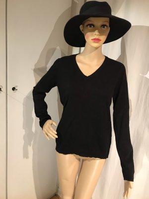 Pullover, V-Ausschnitt, schwarz, M/L