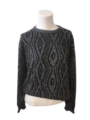 Vintage Pullover all'uncinetto grigio scuro-nero Acrilico