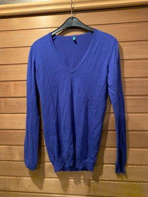 United Colors of Benetton Maglione con scollo a V blu