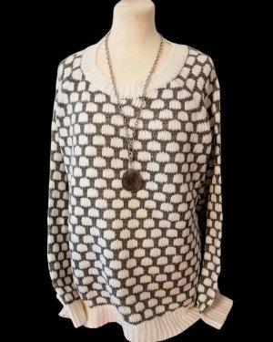 bpc bonprix collection Sweter z dzianiny biały-szary