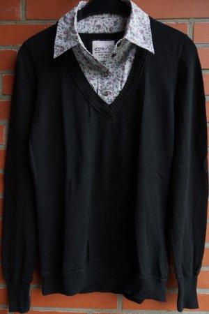 Esprit Maglione twin set nero-grigio chiaro Cotone