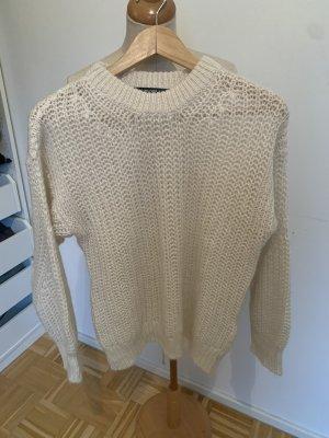 Hallhuber Sweter z okrągłym dekoltem w kolorze białej wełny