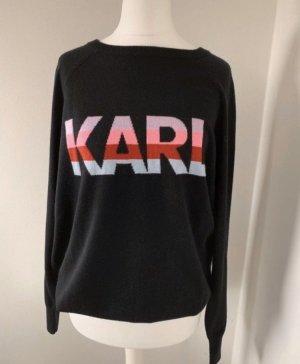 Karl Lagerfeld Maglione di lana nero-rosso lampone