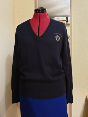 Largentina V-Neck Sweater dark blue cotton