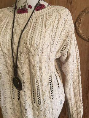 H&M L.O.G.G. Warkoczowy sweter kremowy