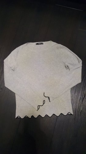 Mango Kraagloze sweater zwart-lichtgrijs Katoen