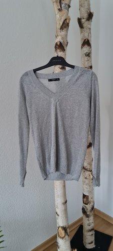 Mango V-Neck Sweater silver-colored