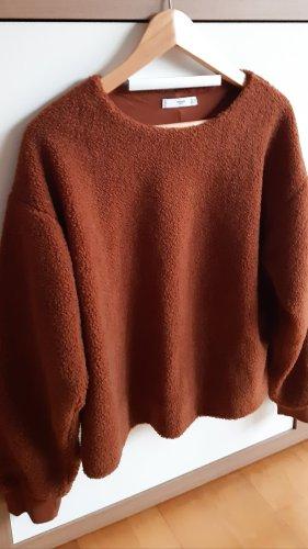 Mango Wełniany sweter cognac