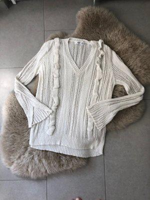Mango casual Szydełkowany sweter biały