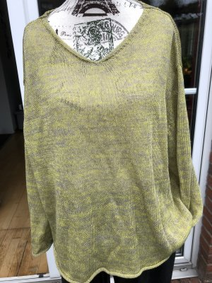 Oska Crewneck Sweater grey-lime yellow linen