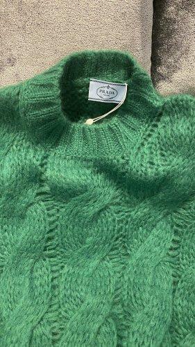 Prada Sweter z grubej dzianiny leśna zieleń