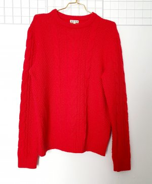Reiss Coarse Knitted Sweater red wool
