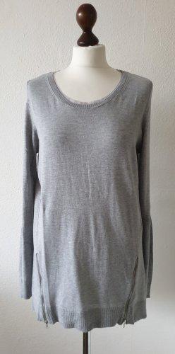 Pullover von s.Oliver * Gr. 40* Reißverschluß-Details * grau * mit Tüll am Ausschnitt
