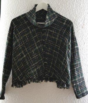 Pullover von Zara aus Tweed mit Fransen und Kragen